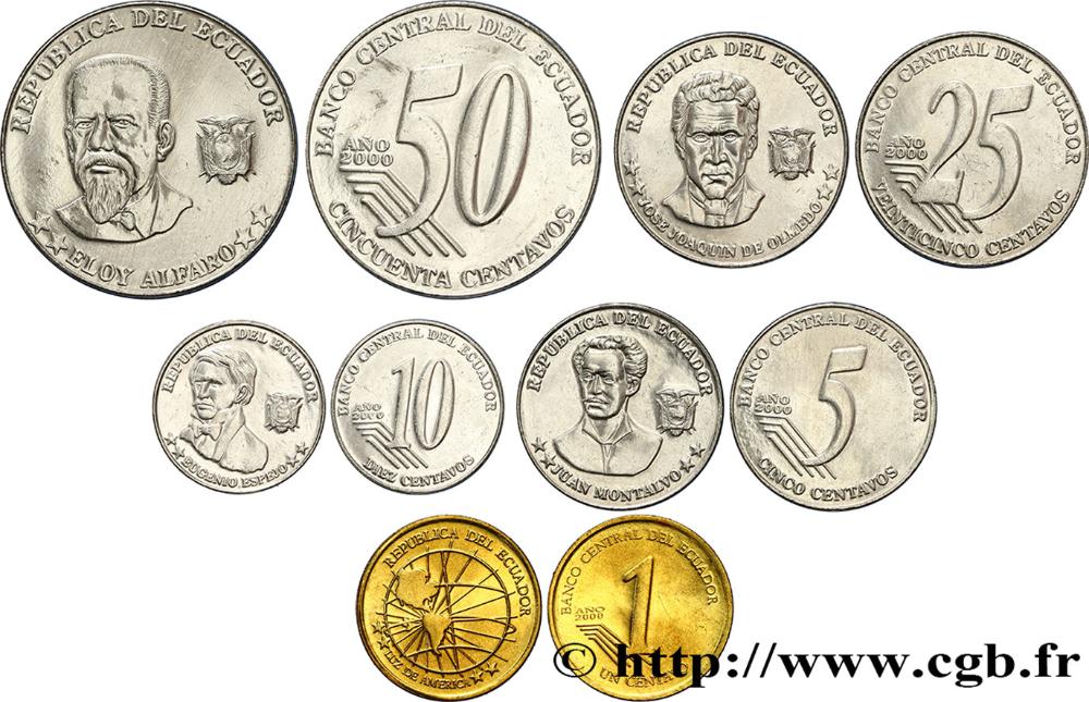 Ecuador Lot De 5 Monnaies 1 5 10 25 50 Centavos 2000 Fwo 390338 Monedas Del Mundo Monedas Centavo Ecuador