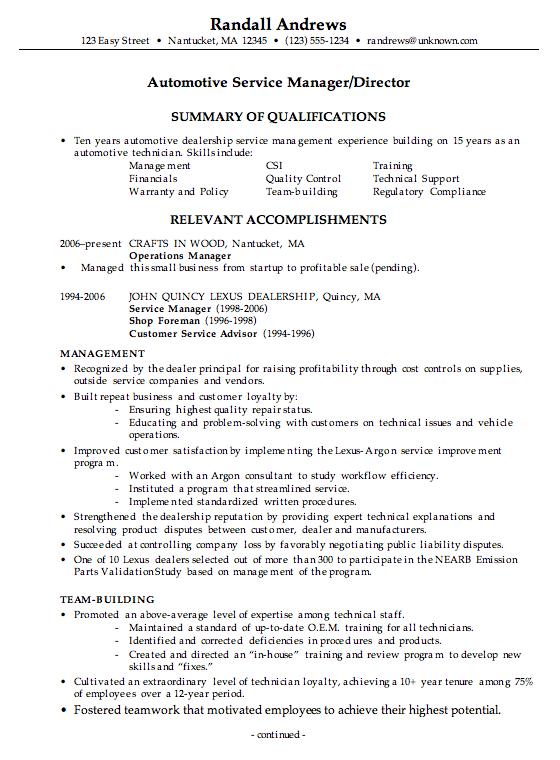 Combination Resume Example Automotive Service Manager Teacher Resume Examples Resume Examples Manager Resume