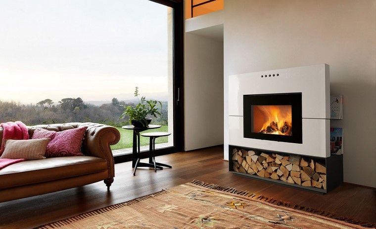 chimenea moderna sofa cuero salon ideas - Chimenea Moderna
