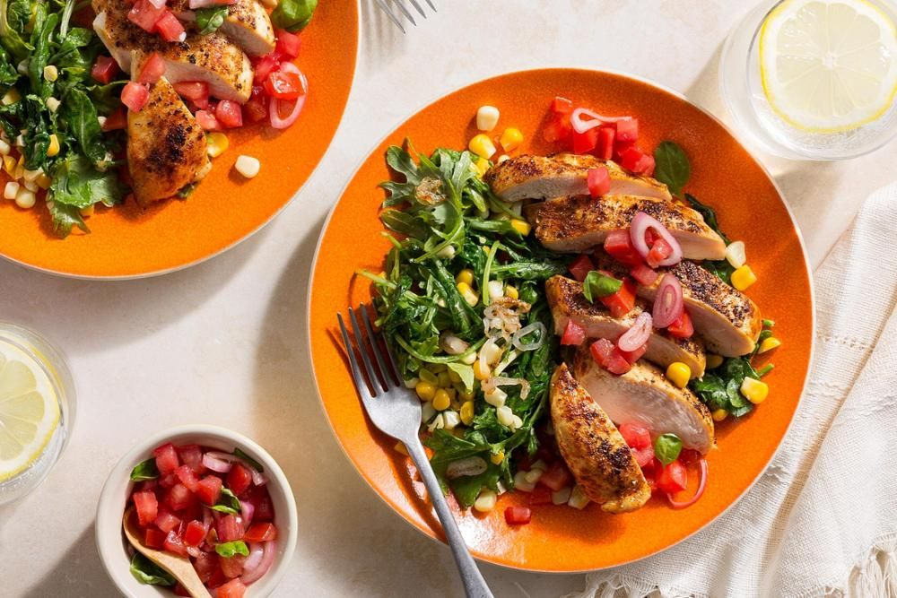 """Paprika-spiced Chicken Over """"creamed"""" Corn With Tomato"""