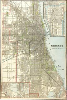second city chicago map Greater Chicago Area 1902 Chicago City Map Chicago City