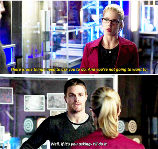 "Love them.... #Olicity #Arrow #season3 ""Kill him"""