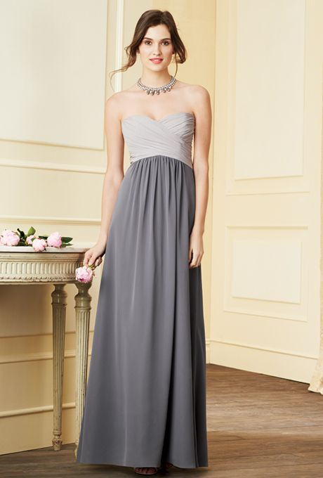 Brides: Alfred Angelo. Romantic, color mix gown with draped sweetheart neckline and shirred skirt. Bodice and skirt each available in 62 dream in color shades.