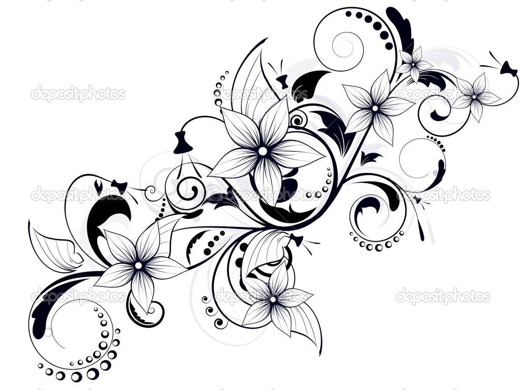 Floral Design Element With Swirls For Spring Stock Vector
