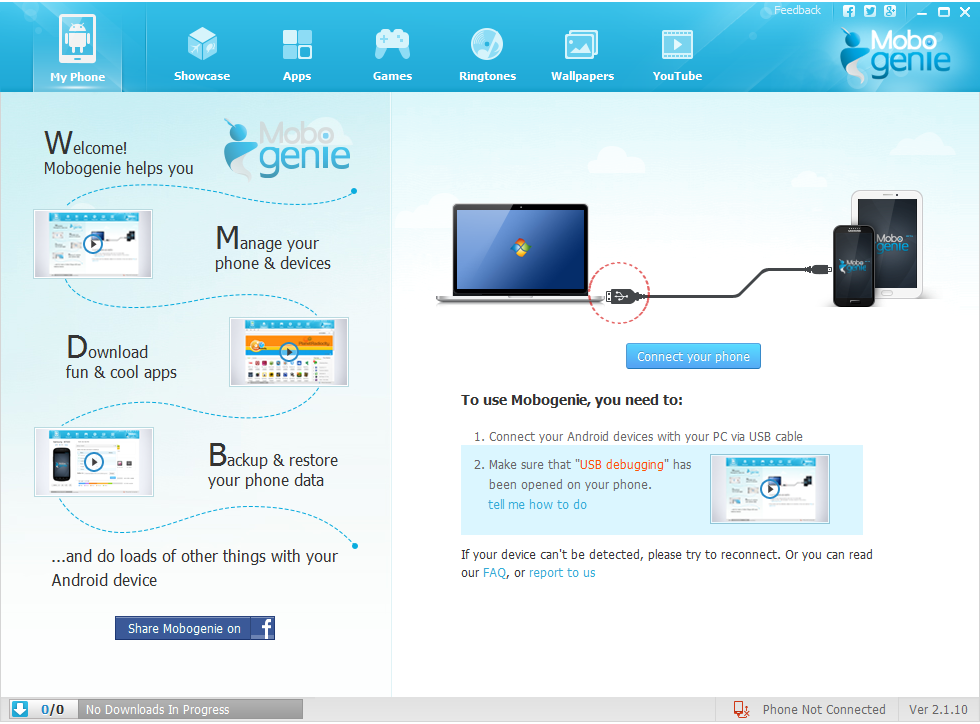 Mobogenie Allinone Android phone manager for PC (With