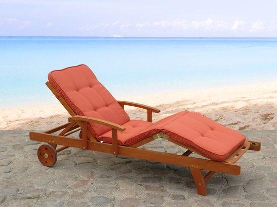 Exklusive Gartenliege aus Holz - Liegestuhl von Beliani®, terracotta ...
