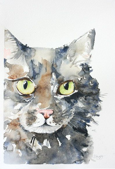 Custom Pet Portrait Original Watercolor Painting Dog Or Cat