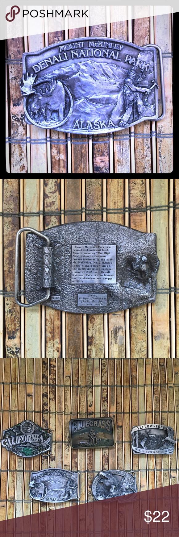 Vintage Alaska belt buckle! Vintage pewter Alaska belt buckle- Denali National Park! Accessories Belts