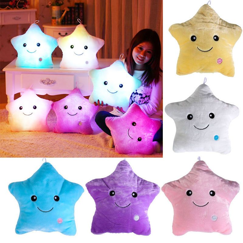 Creative LED Light Up Glow Pillow Soft Cosy Relax Cushion Star Stuffed Toy Dolls