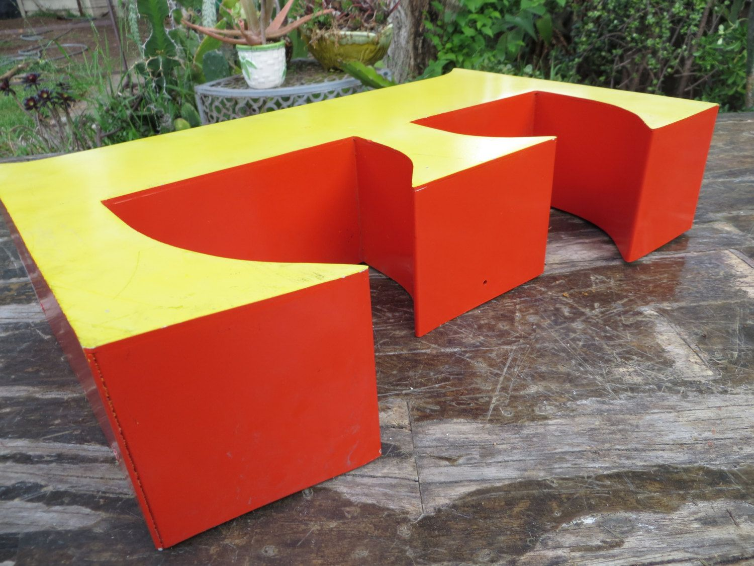 Large Mod Vivid Orange Bright Yellow Capital Letter E Reclaimed Industrial Salvage Advertising Neon Channel Sign Initial Initial Sign Aluminum Sheet Metal Lettering