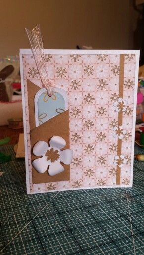 Simple Card Fiskars Punches Card Stock Kraft And White Colored 2 Different Types Pattern Paper Idea Came From Here On Pi Simple Cards Pattern Paper Cards