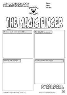 The Magic Finger by Roald Dahl Comic Style Workbook