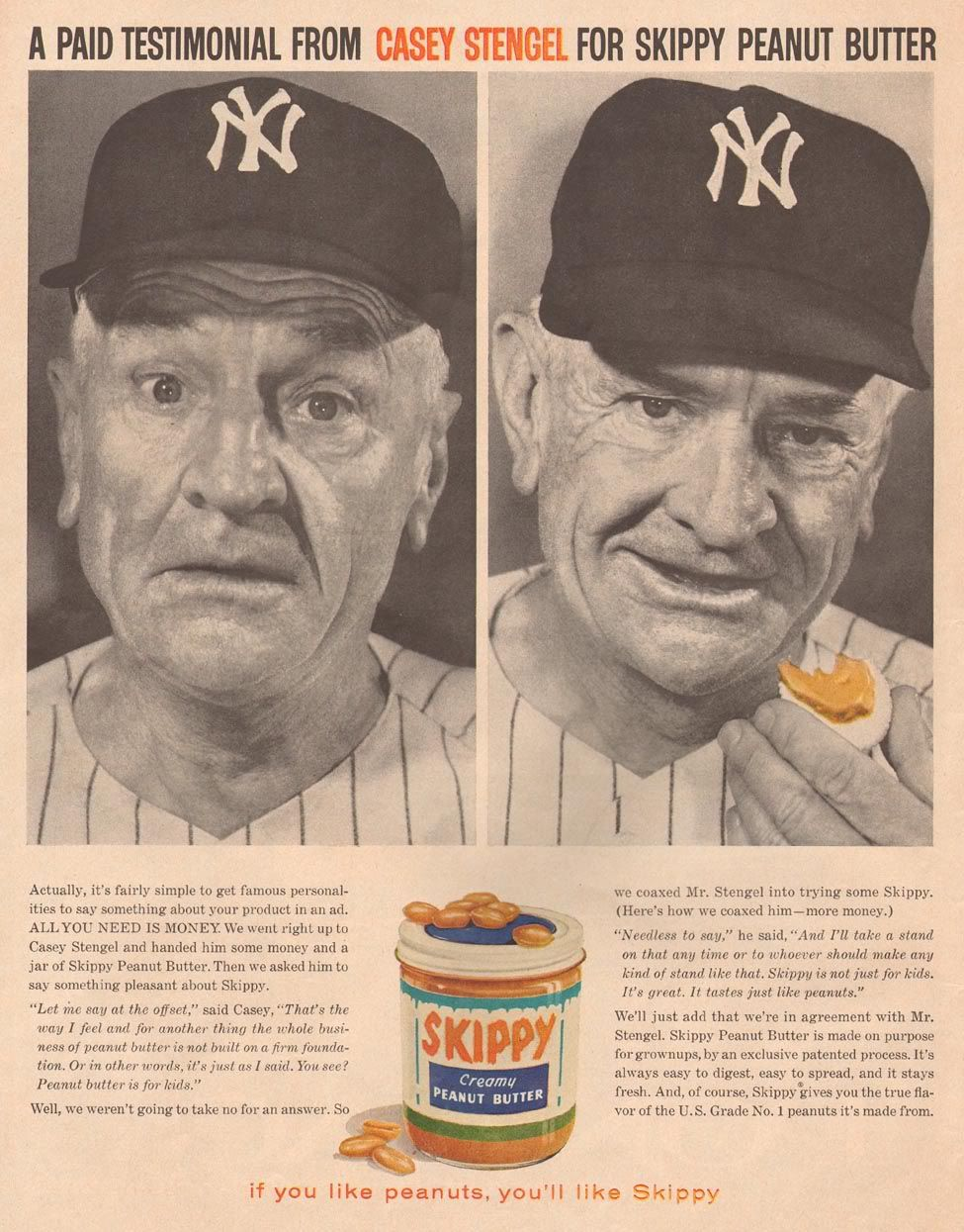 Casey Stengel, Skippy peanut butter Vintage baseball