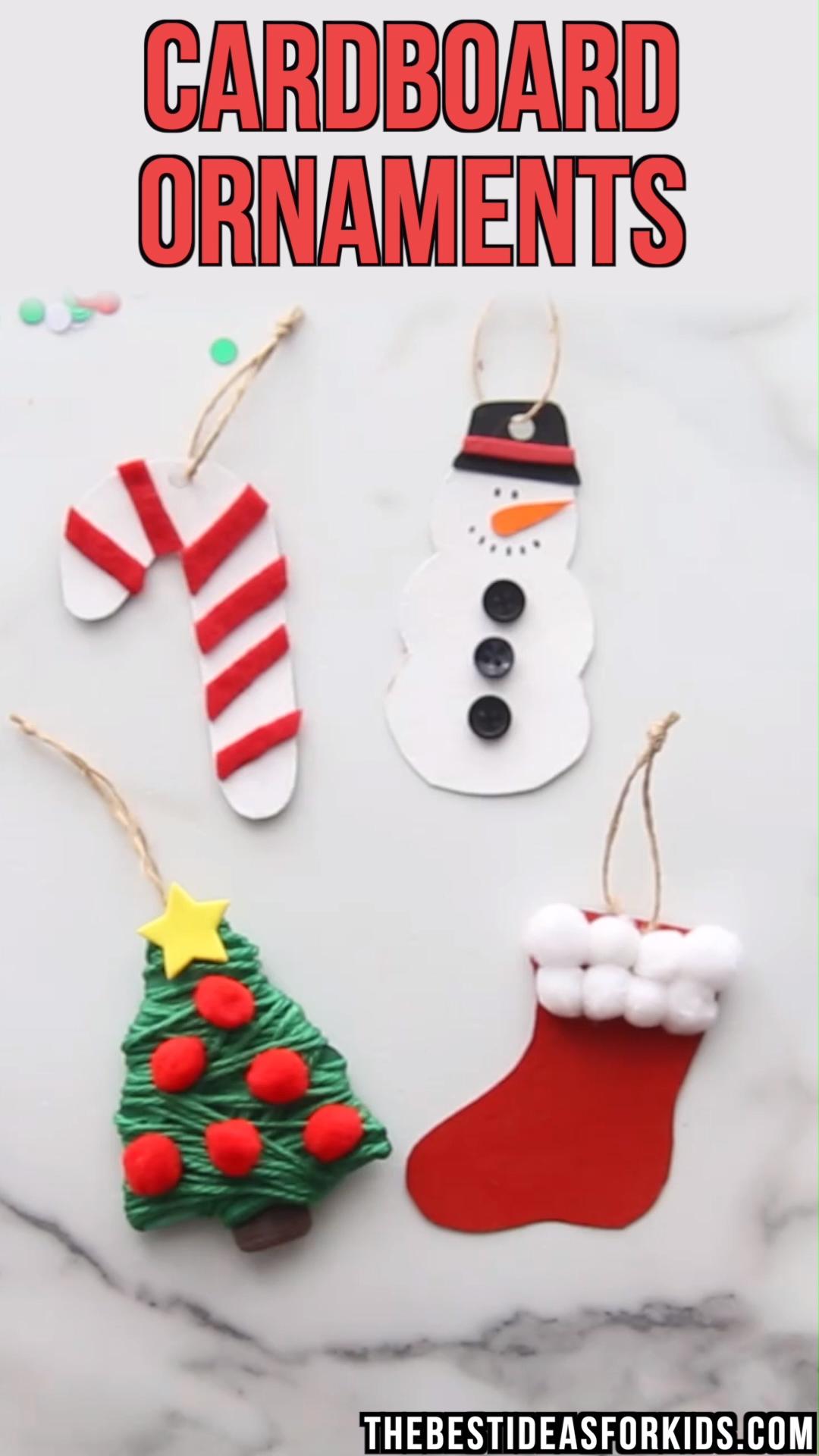 CARDBOARD ORNAMENTS - make a snowman, Christmas tree, candy cane or stocking cardboard ornament!