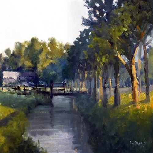 """Daily Paintworks - """"At the edge of the canal"""" - Original Fine Art for Sale - © Pascal Giroud"""