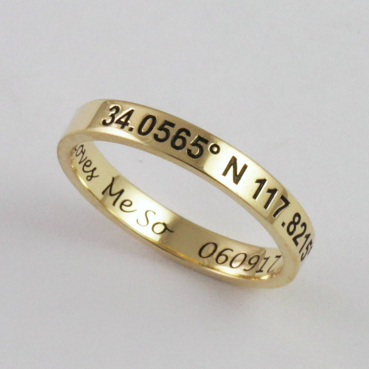 27e8974b53 Solid Gold Personalized Engraved Stacking Ring - 3mm x 1.2mm - 14k or 18k -  Custom Handwriting Coordinates