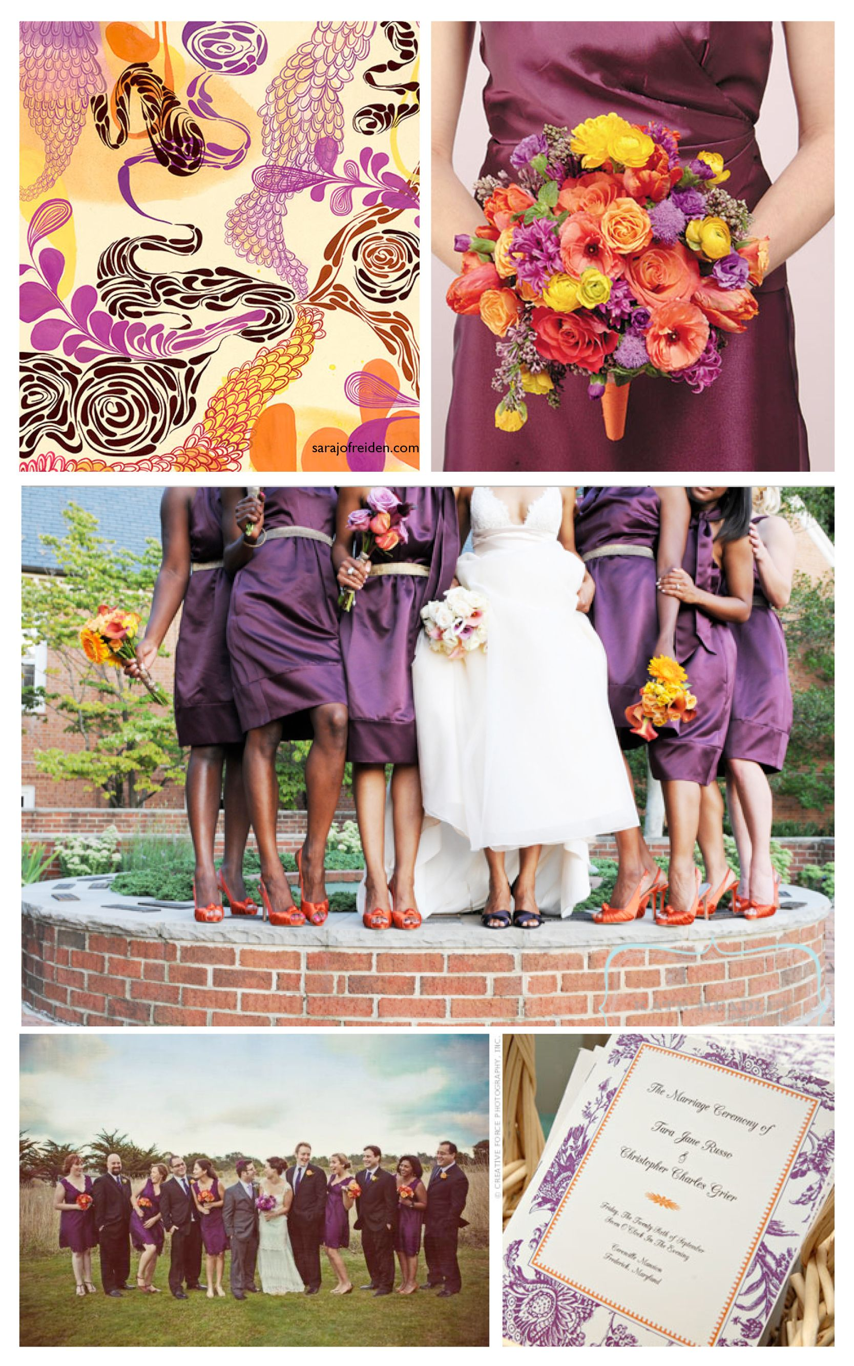 Neat color scheme, especially for a Fall wedding  Love the purple & orange!!