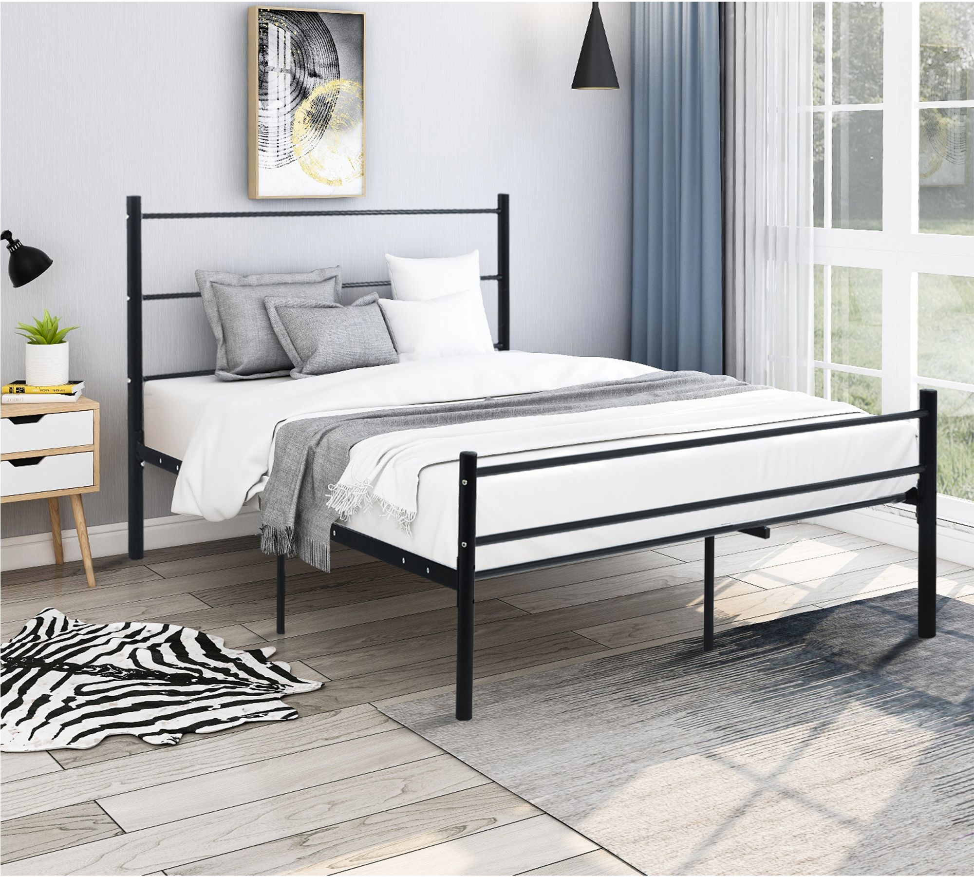 Home Bed frame, headboard, Metal platform bed, Headboard