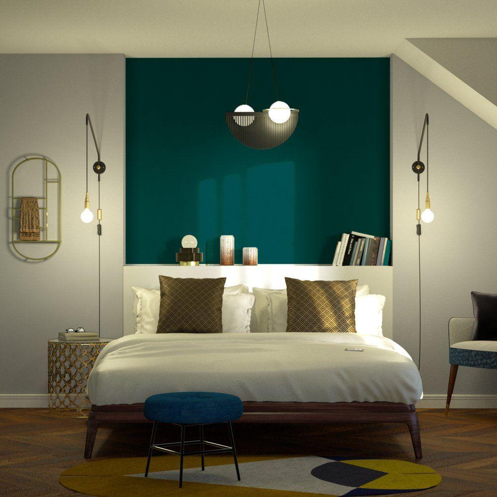 Papier peint intissé OPAL coloris vert émeraude  Déco chambre
