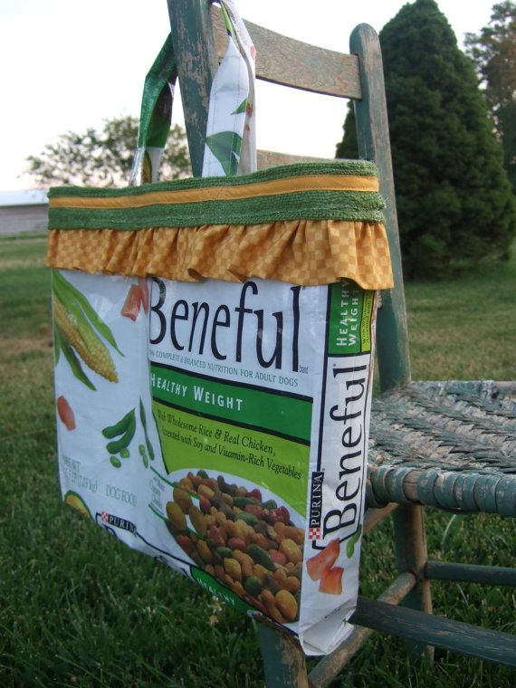Upcycled Beneful Dog Food Bag Green Tote By Farmhouselifebyemily