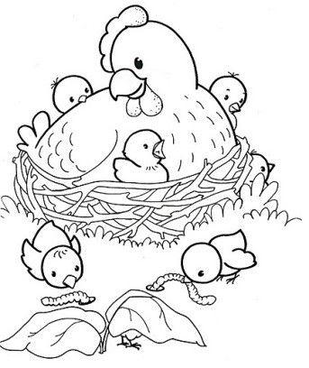 Paques La Poule Et Ses Poussins Farm Coloring Pages Easter