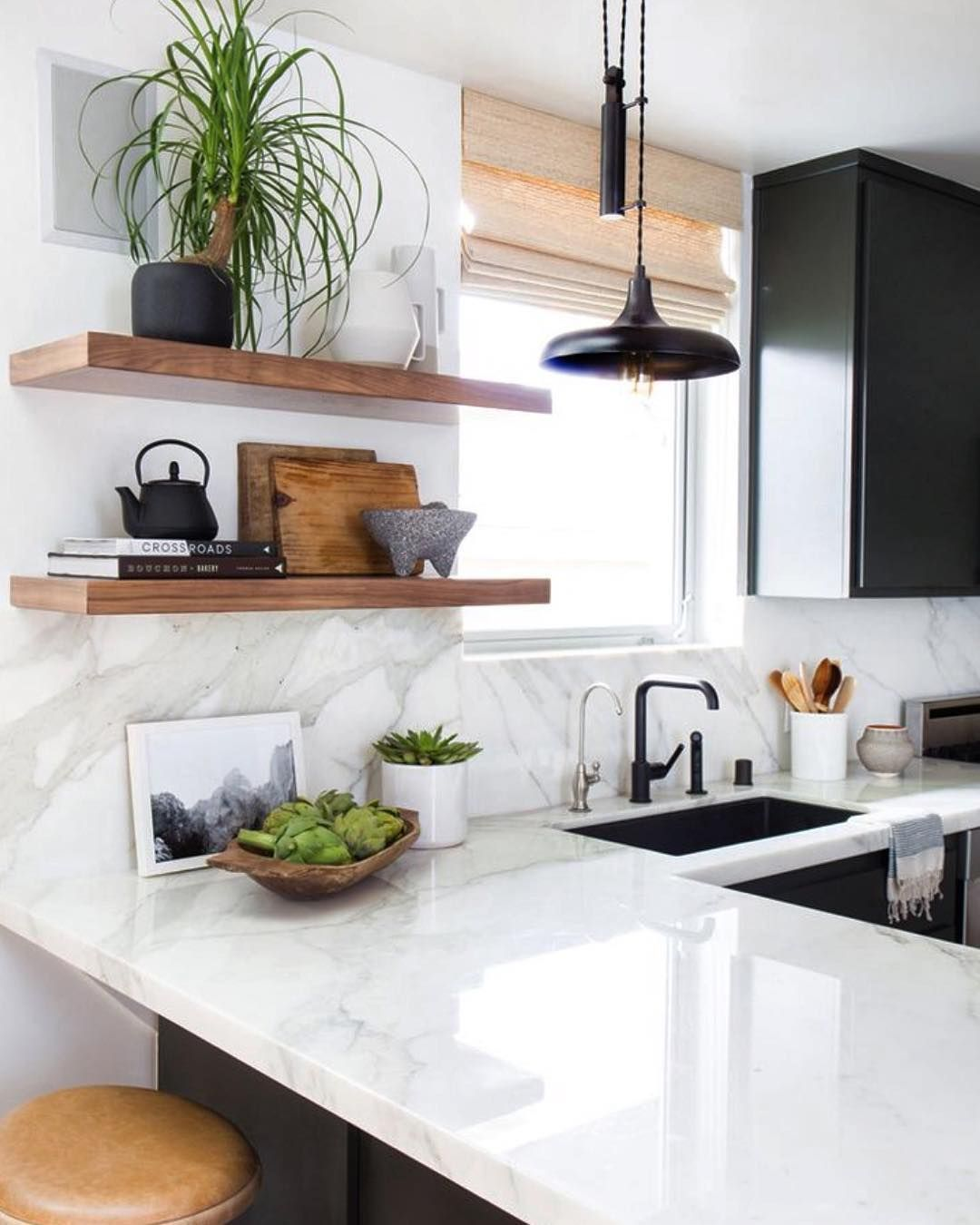 Loving this kitchen and those simple hardwood shelves. Marble and ...