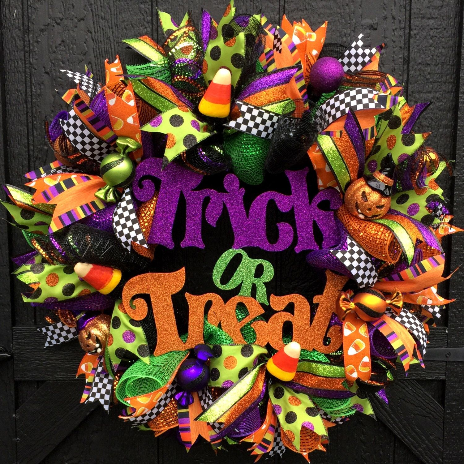 Halloween trick or treat deco mesh door wreath halloween - Deco halloween diy ...