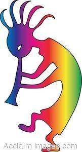 Clip Art of Rainbow Kokopelli Playing His Flute