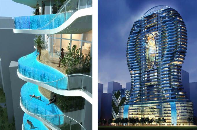 I think I'd be panicking each time I jumped in the balcony pool! This is the Parinee Ism residential building in Mumbai, India.