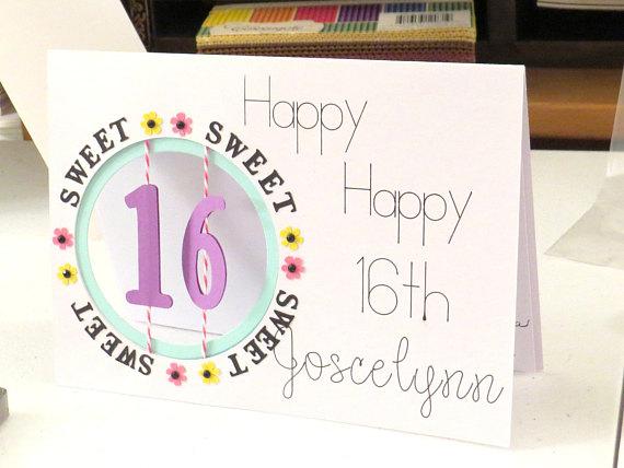 16th Birthday Card Sweet 16 Card For Daughter Niece Girls Birthday