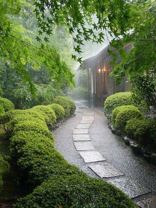 Photo of enchanting garden path