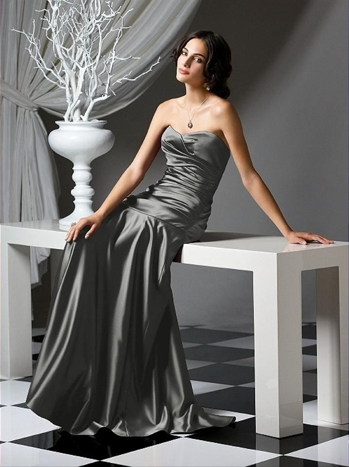 Photo of Dessy Charcoal Gray Matte Satin Style 2749 Formal Bridesmaid…