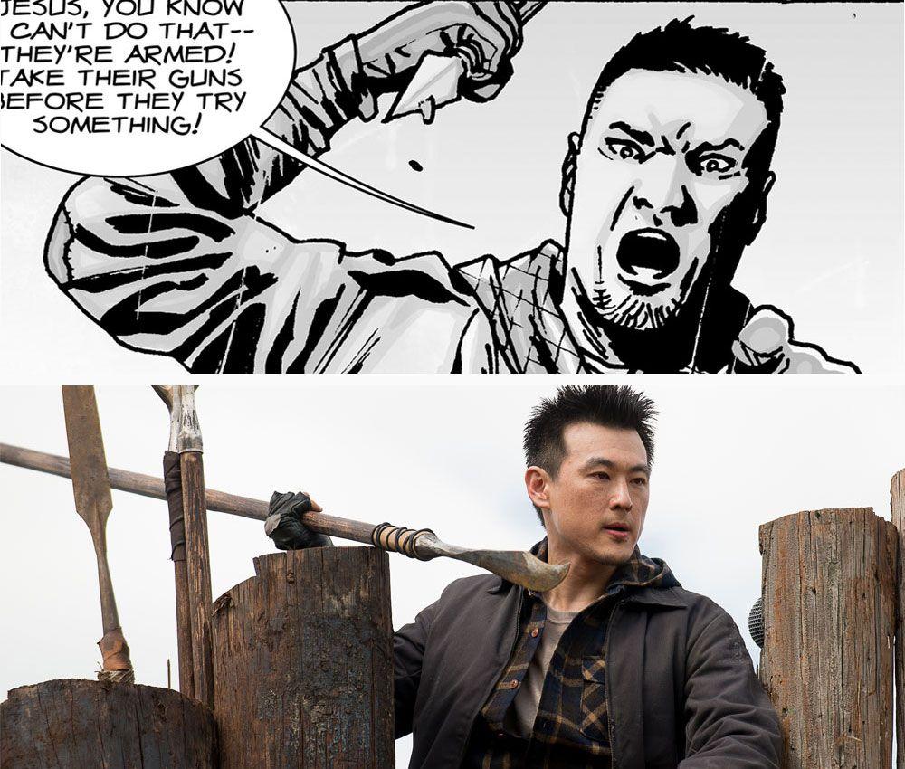 The Walking Dead - TV vs Comics (guard at the Hilltop Colony)