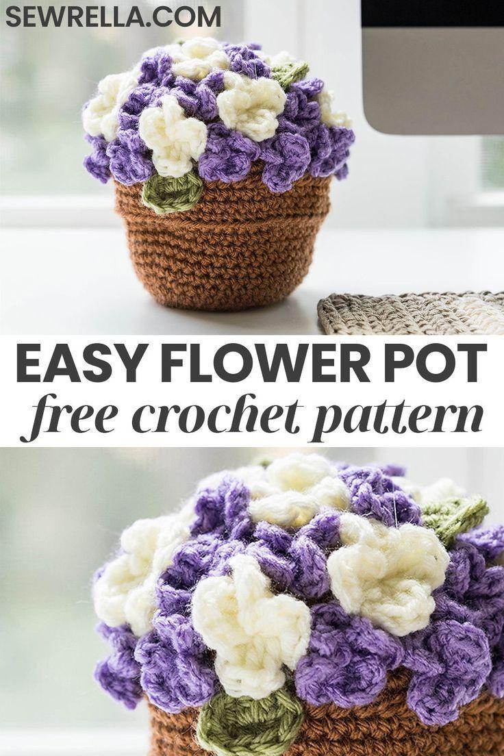 Crochet Flower Pot • Sewrella