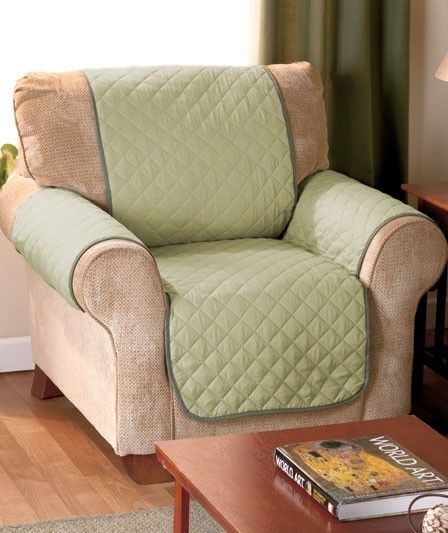 Sage Green Quilted Suede Chair Recliner Armchair Covers