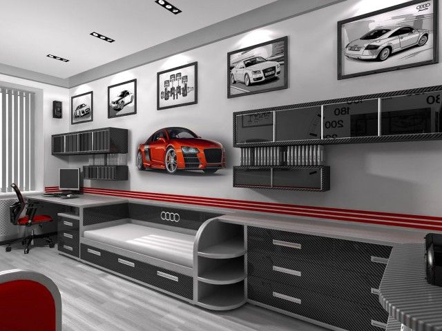 decorating a boys bedroom with a auto garage theme audi. Black Bedroom Furniture Sets. Home Design Ideas