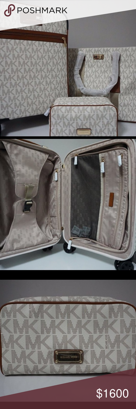 f5b3123d8509 Michael kors 3 piece MICHAEL Michael Kors Signature Vanilla Travel Trolley,Tote  & Pouch Luggage Set Michael Kors Bags