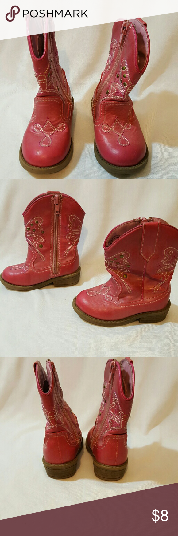 Cherokee Girls Toddler Cowgirl Cowboy Boots Size 5 Size 5  Pink Good condition Cherokee Shoes Boots