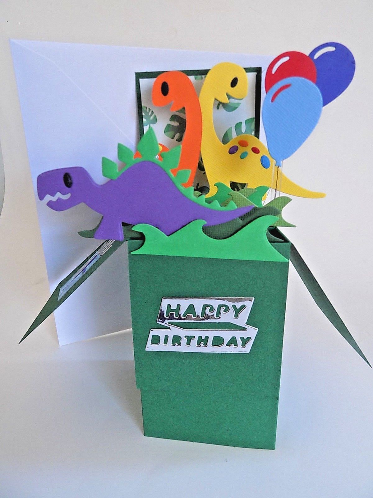 Handmade pop up card children dinosaurs balloon birthday any age