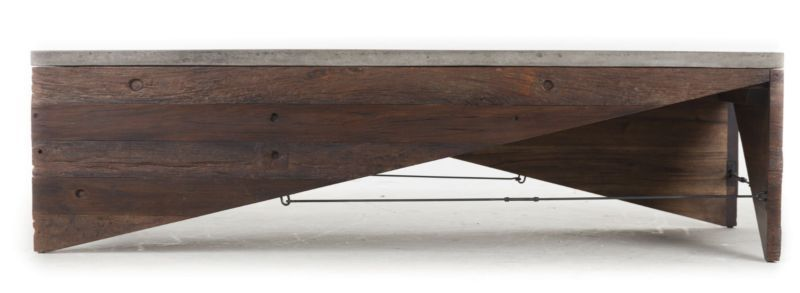 """World Bazaar Outlet - 59"""" L Coffee Table Concrete top cast iron support solid reclaimed wood Modern AG, $1,980.00 (http://www.worldbazaaroutlet.com/59-l-coffee-table-concrete-top-cast-iron-support-solid-reclaimed-wood-modern-ag/)"""