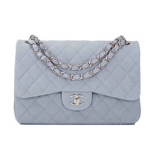 76f1de50b7b Chanel Pastel Blue Iridescent Quilted Matte Caviar Jumbo Classic Bag ...