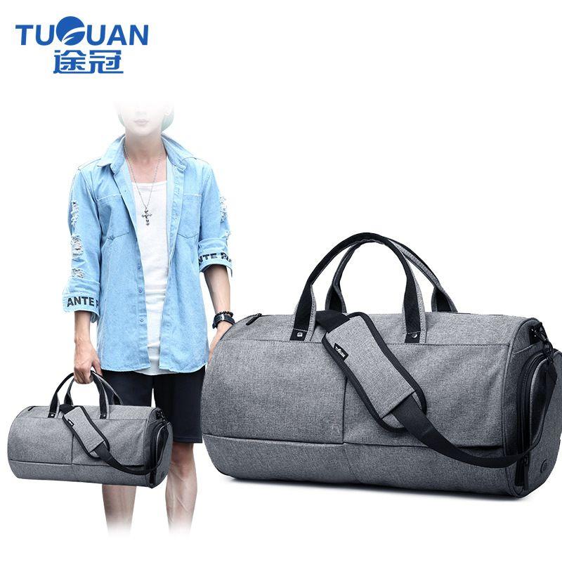 TUGUAN travel Bag Hot Sale fashion Men women weekend Bag black ...
