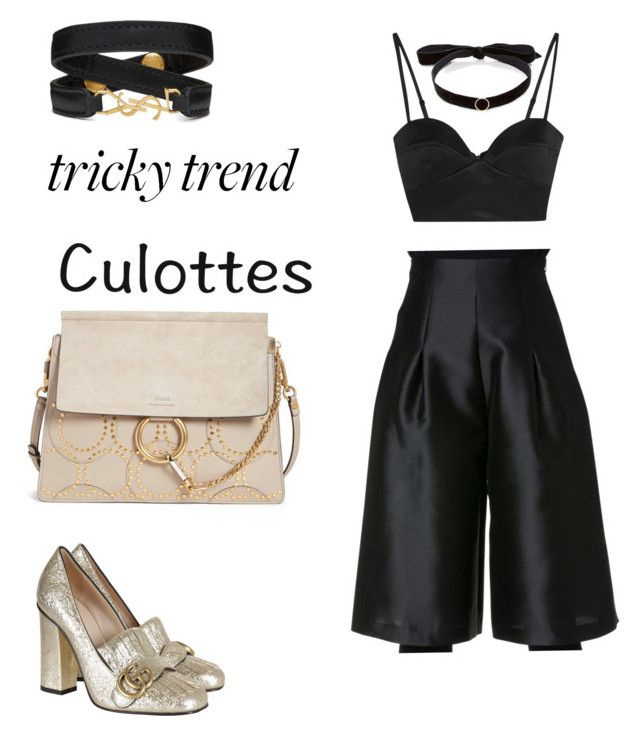 """Going out look"" by beth-villasin ❤ liked on Polyvore featuring Michael Lo Sordo, Gucci, Chloé, Mateo, Yves Saint Laurent, TrickyTrend and culottes"