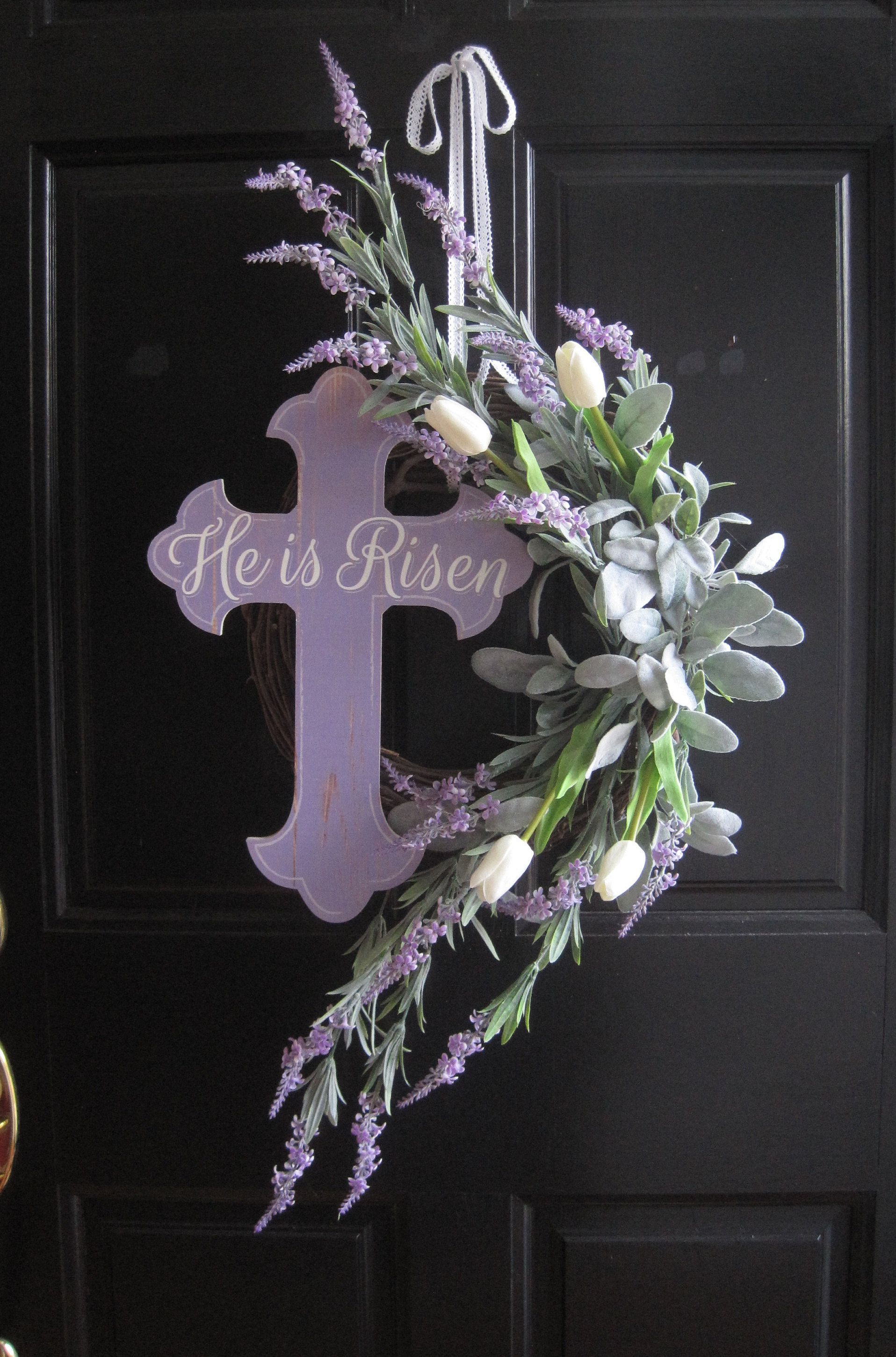 Easter Wreath For Front Door Easter Cross Wreath Tulip Wreath Lavender White Easter Decoration Wall Decor Door Decor Gift Cross Wreath Easter Wreaths Wreaths For Front Door
