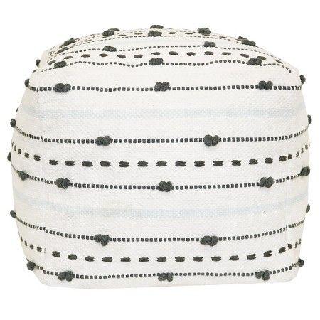 Textured Stripe Pouf - Gray/Light Blue - Nate Berkus™ : Target