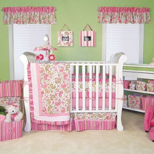 Trend Lab Baby Girl Cute Pink Green Paisley Crib Nursery