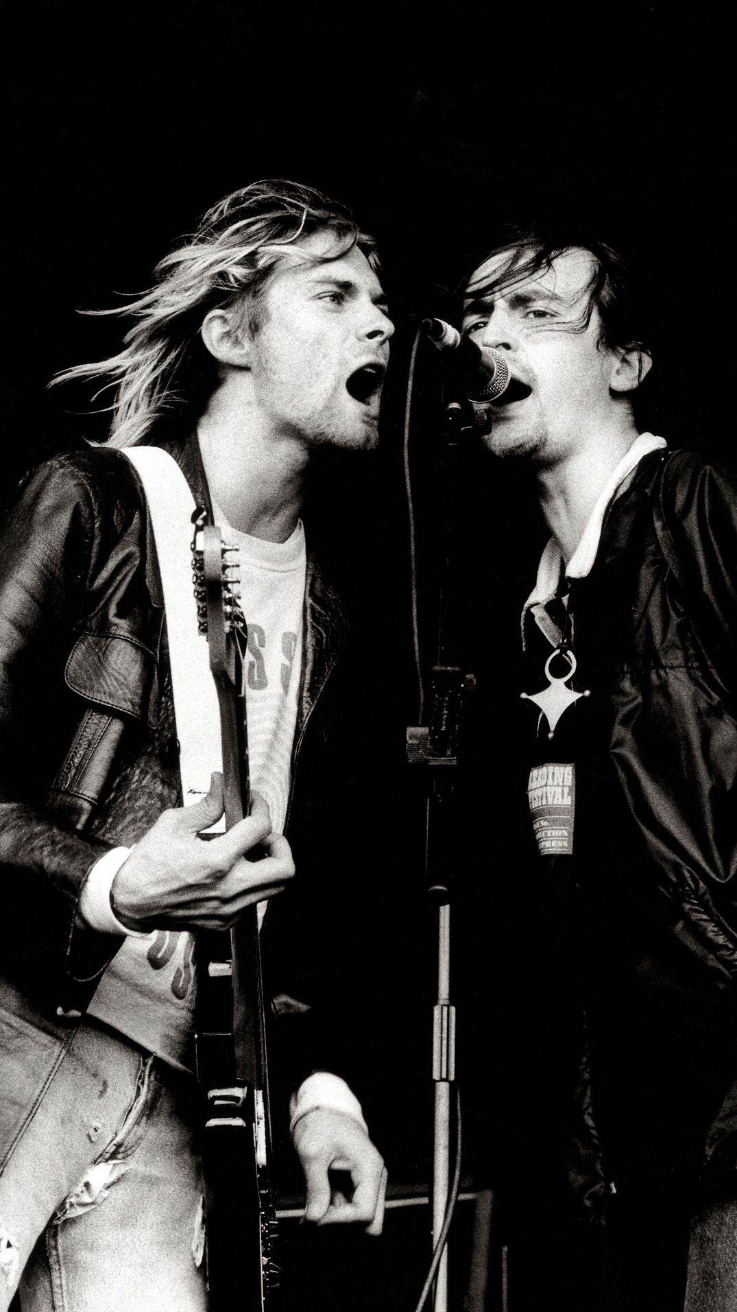 Kurt Cobain And Eugene Kelly On Stage At The Reading Festival 1991 Nirvana