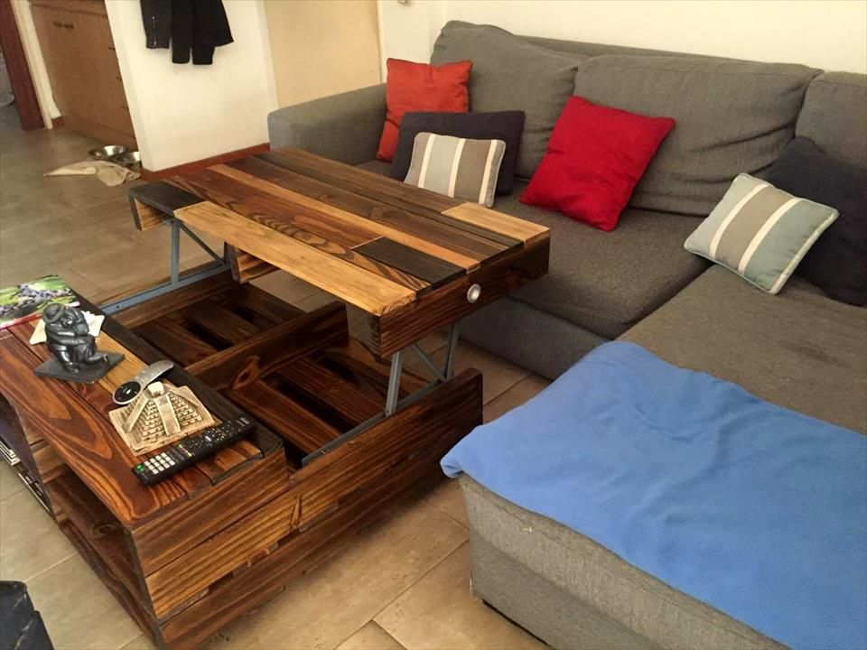 Diy Pallet Lift Up Top Coffee Table With Wheels And Storage Jpg 960 720 Wood Pallet Tables Pallet Projects Furniture Pallet Furniture