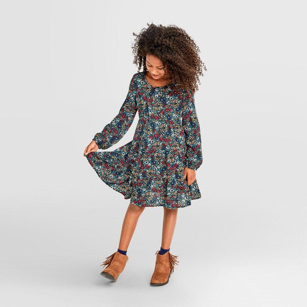 Girlsu long sleeve dress floral print l xhilaration girlus size