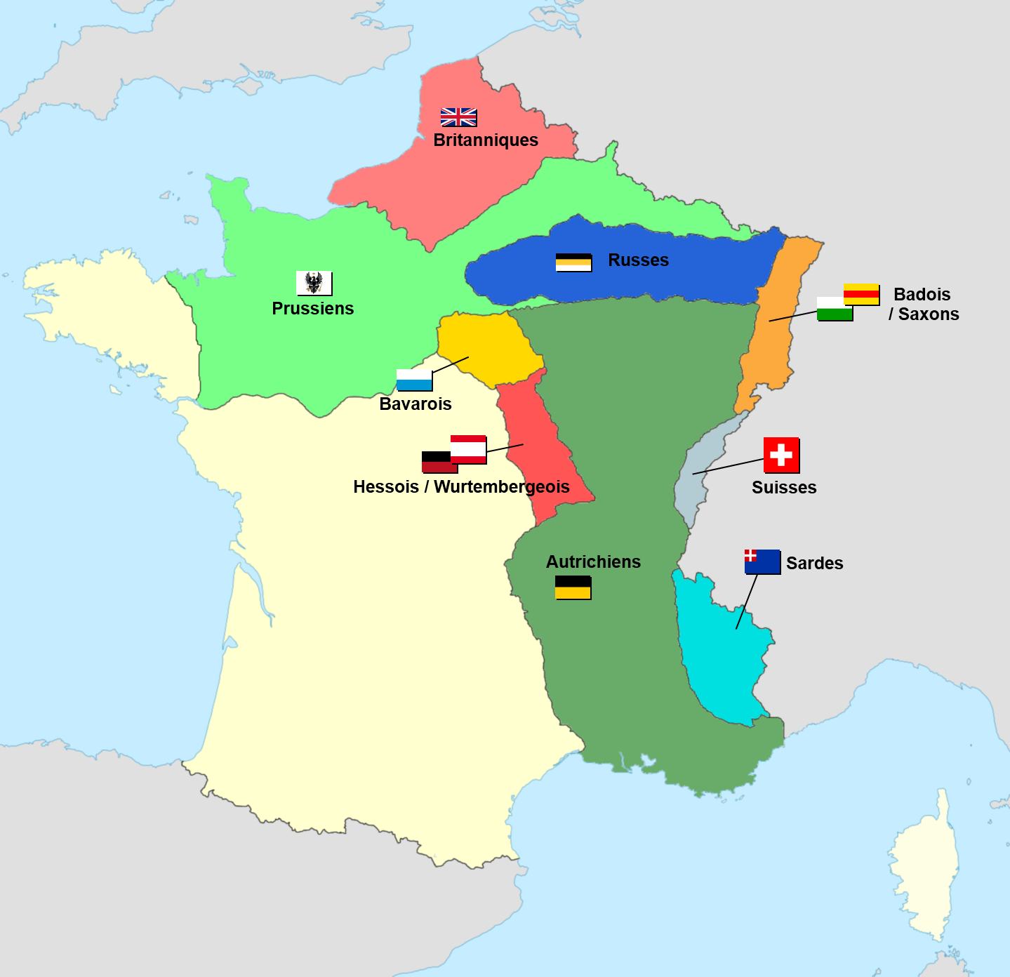 Allied occupation of France 1815 Map, Historical maps